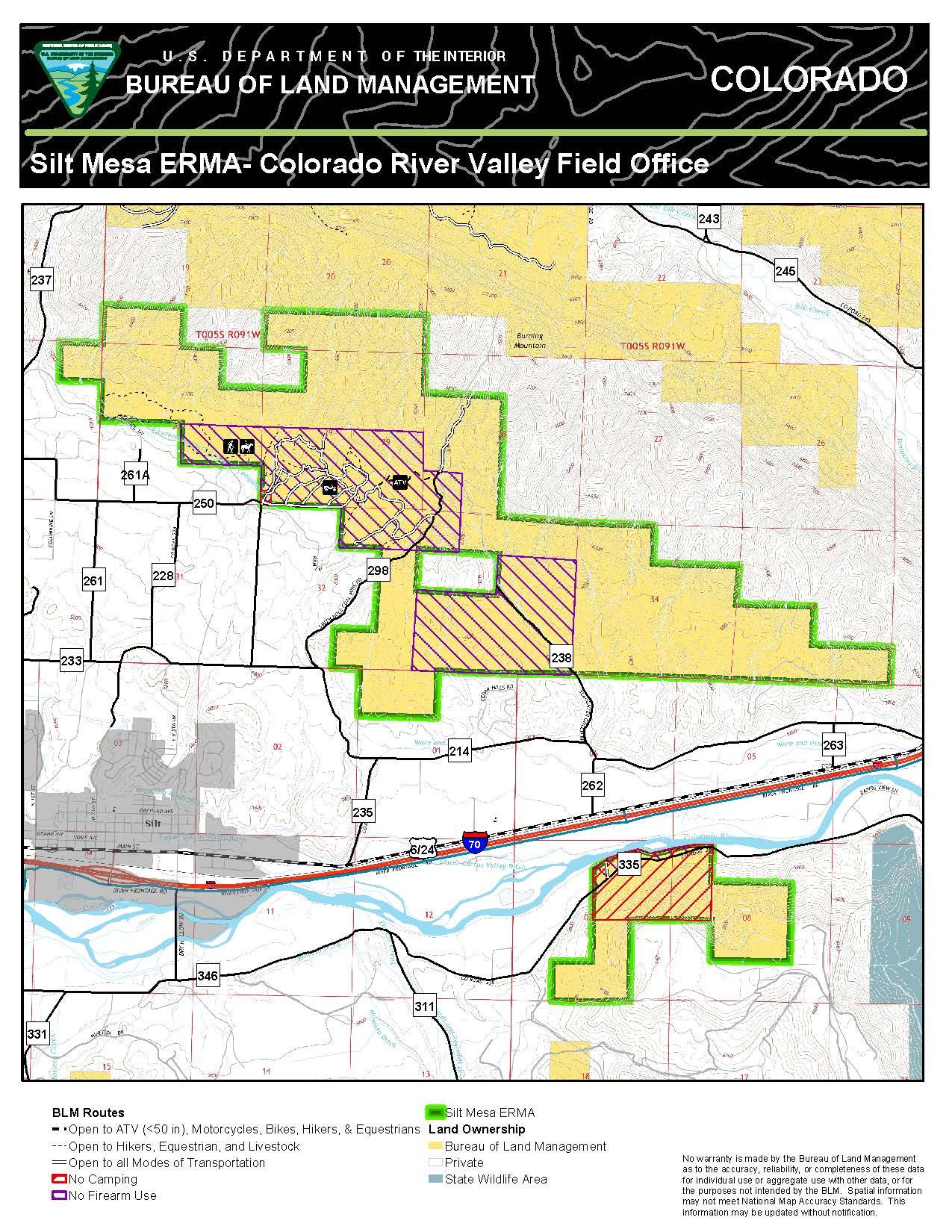Silt Mesa Extensive Recreation Management Area Map BUREAU OF LAND