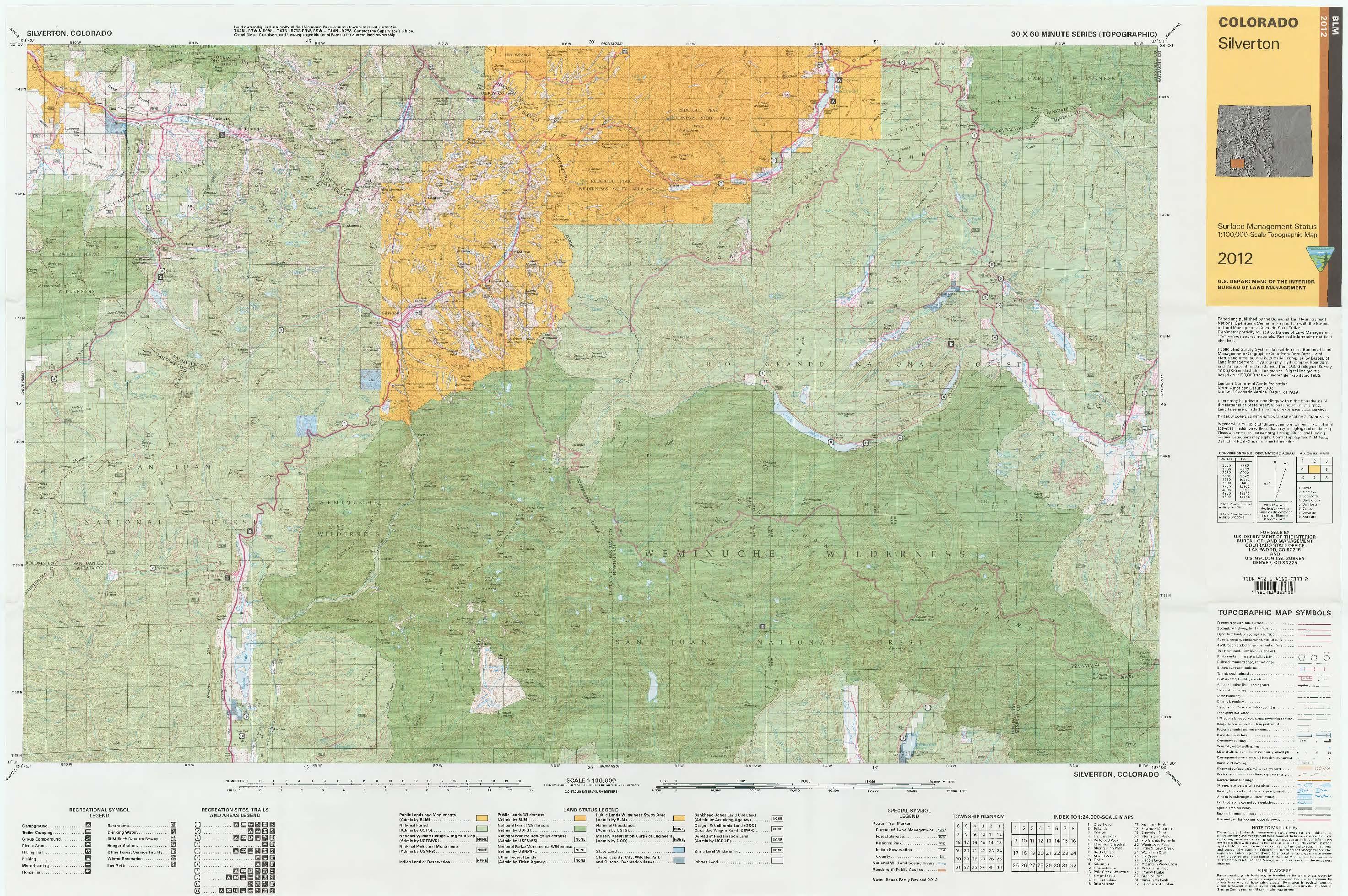 Co Surface Management Status Silverton Map Bureau Of Land Management