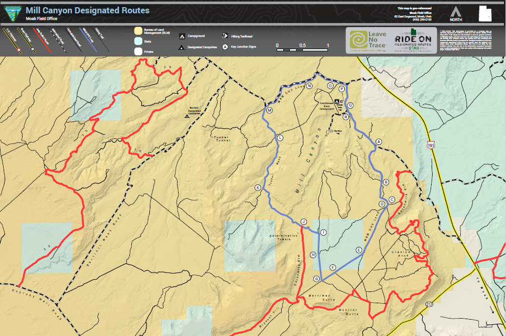 Utah: Frequently Requested Maps: Mill Canyon Designated ... on transport map of routes, map of us interstate routes, us map road trip, map of the united states with routes, us interstate highway maps routes, map of amtrak train routes, world map with routes,