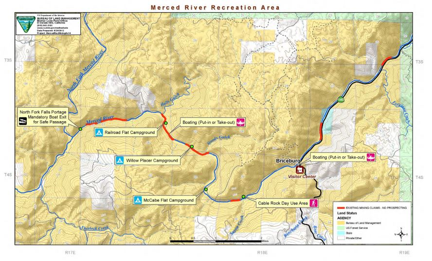 Media Center Public Room California Merced River Recreation Map