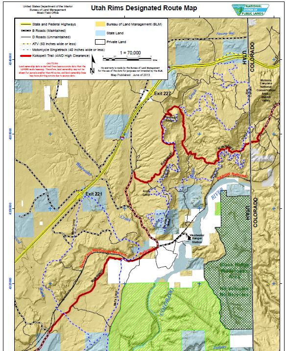 Media: Public Room: Utah: Utah Rims Designated Route Map ...