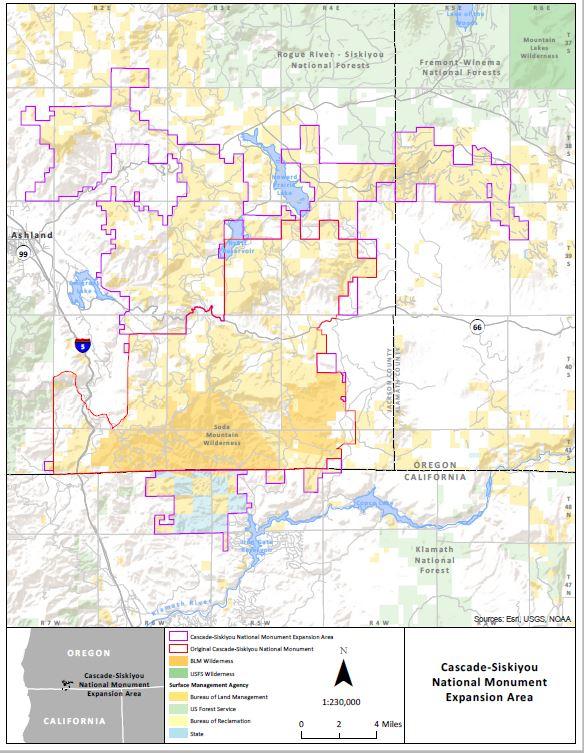 Map of CascadeSiskiyou National Monument BUREAU OF LAND MANAGEMENT