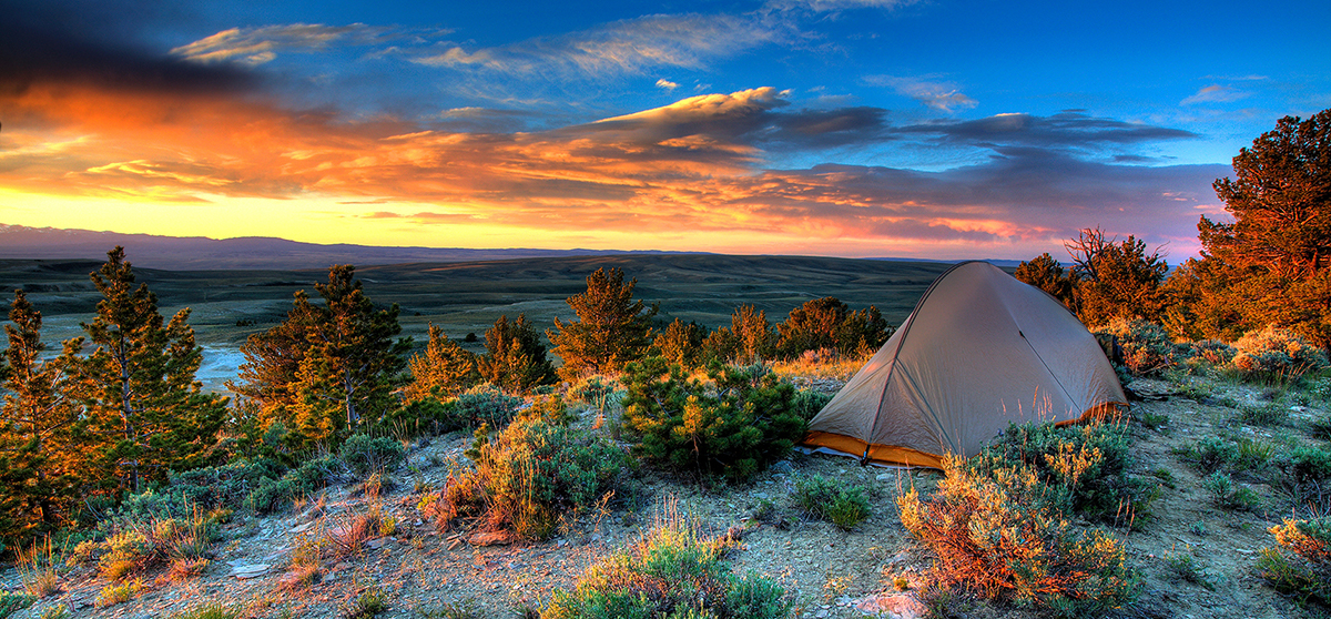 Camping at sunset in the Oregon Buttes WSA
