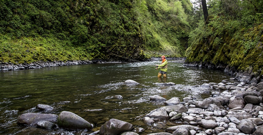 A man fishes in the Molalla River in Oregon. Photo by Bob Wick, BLM