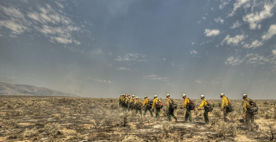 Firefighters walk to a fire. BLM Oregon photo