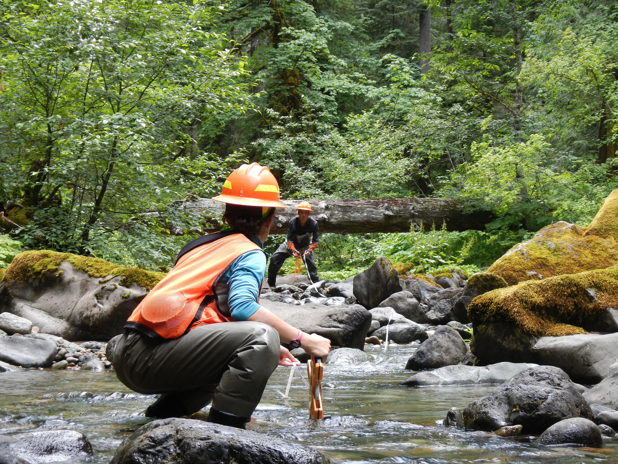 Two BLM employees conduct stream monitoring, BLM photo
