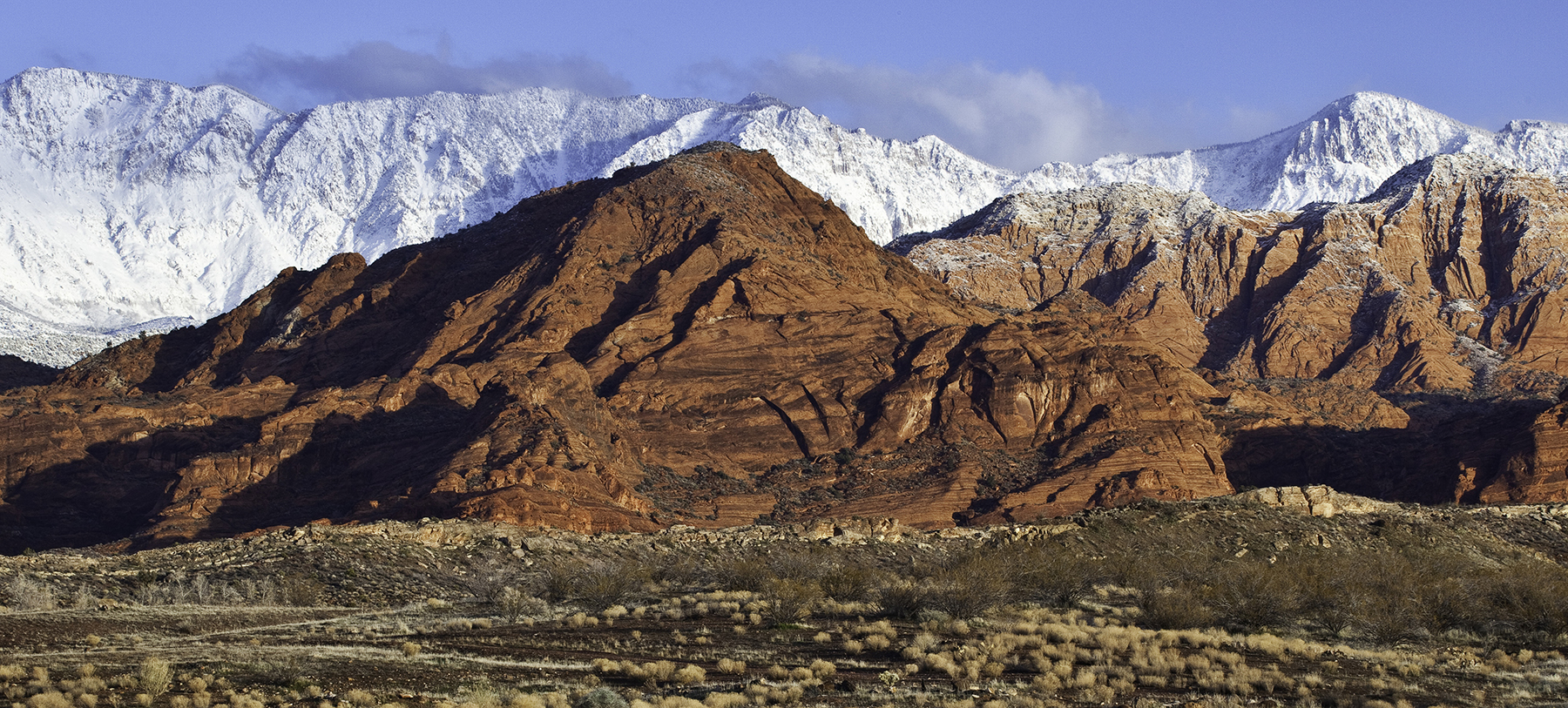 Red Cliffs NCA in the winter with snow-capped peaks in the distance.