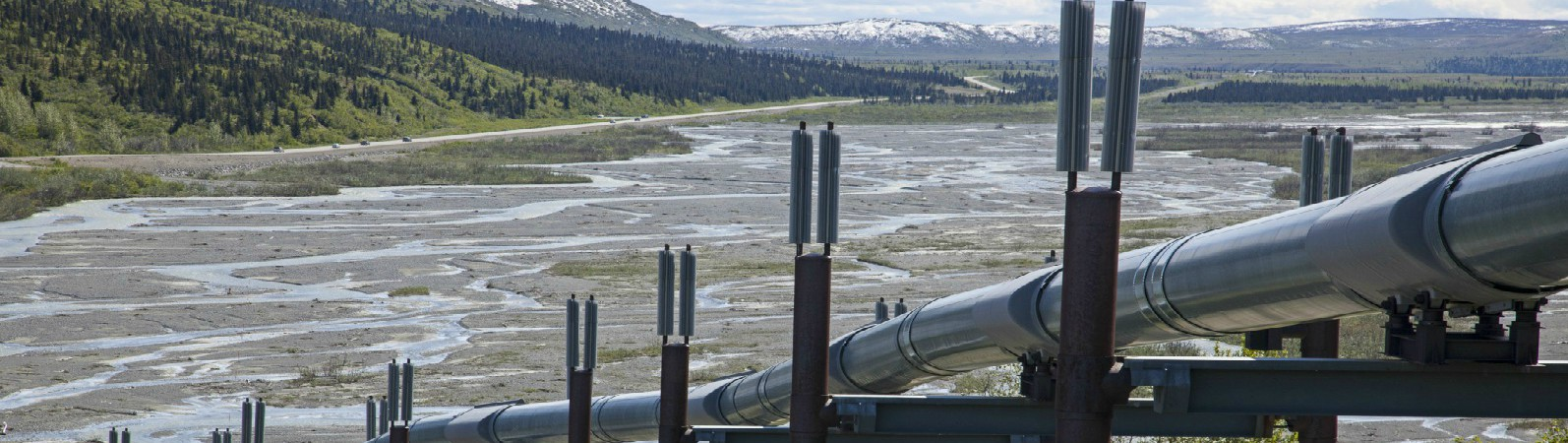 The 800-mile Trans-Alaska Pipeline runs alongside the Gulkana River.