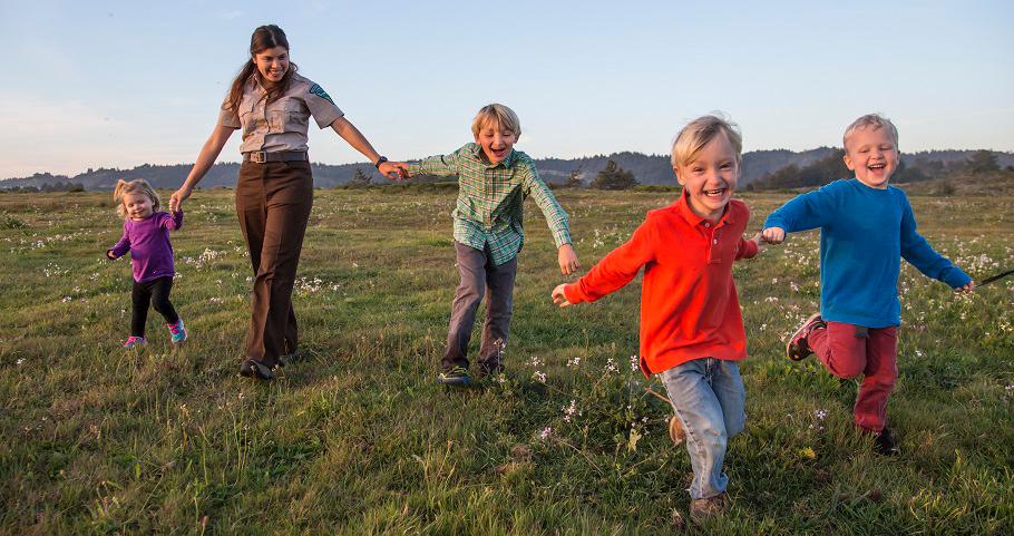 BLM employee explores the California coast with four children. BLM photo