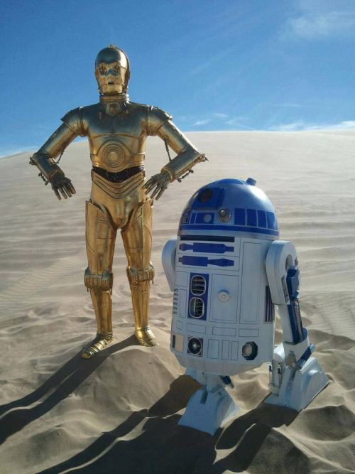 Actors dressed as R2D2 and C3PO at Imperial Sand Dunes in California, site of multiple Star Wars movie themes. Photo by J Vogel.