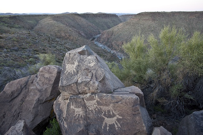 Petroglyph site overlooking river in Agua Fria National Monument.