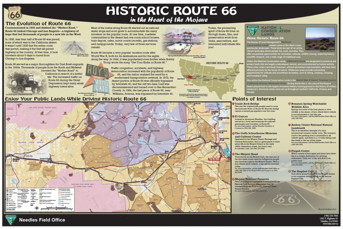 Historic Route 66 California Map.Blm Seeks Help Finding Missing Informational Panel From Historic
