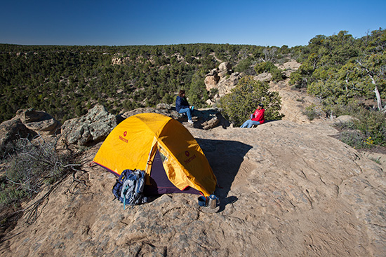 Couple camping outside of Cuba, New Mexico