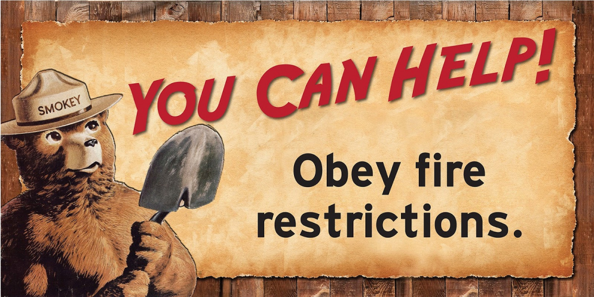 Smokey Bear Sign - You Can Help! Obey Fire Restrictions.