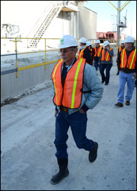 BLM Wyoming RAC members tour the Wyo-Ben Lucerne Bentonite Plant in March 2014.