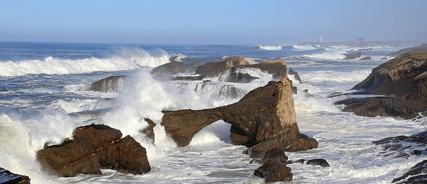 Waves crashing over the off-shore rocks and islands at Point Arena-Stornetta (Photo by David Ledig, BLM)