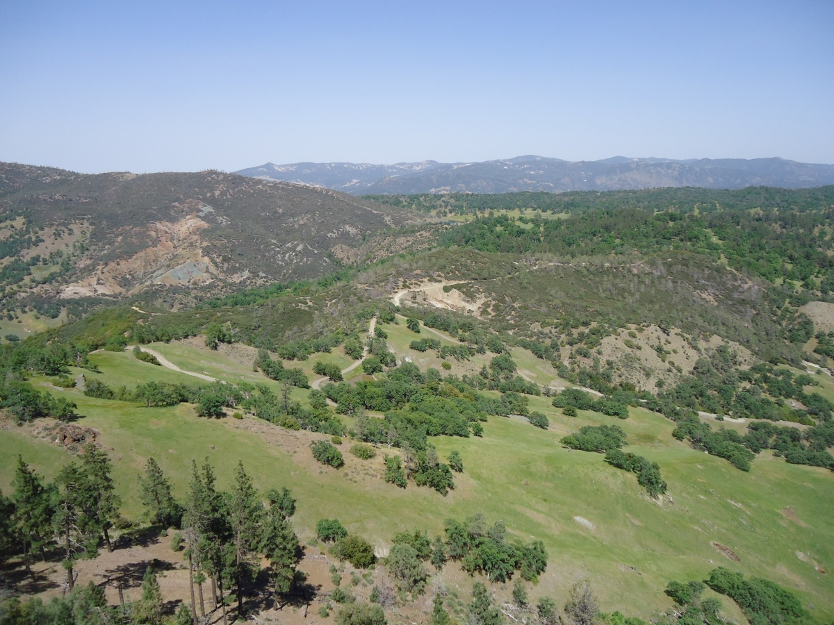Landscape view from Hepsedam Peak looking east towards San Benito Mountain in southern San Benito County
