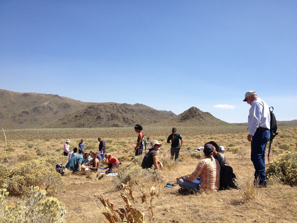 BLM Nevada staff and contractors participating in a field training learning how to identify soils.