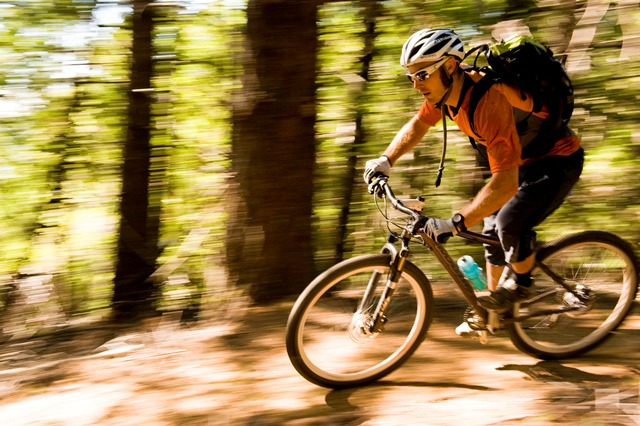 A mountain biker rides fast past evergreen trees on the Paradise Royale trail system in the King Range National Conservation Area. Photo by Colin Meagher/BLM