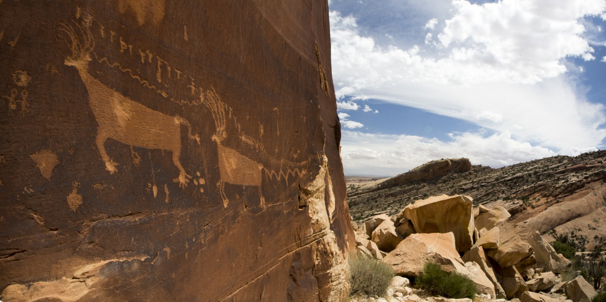 archaeology procession panel on red rock in utah