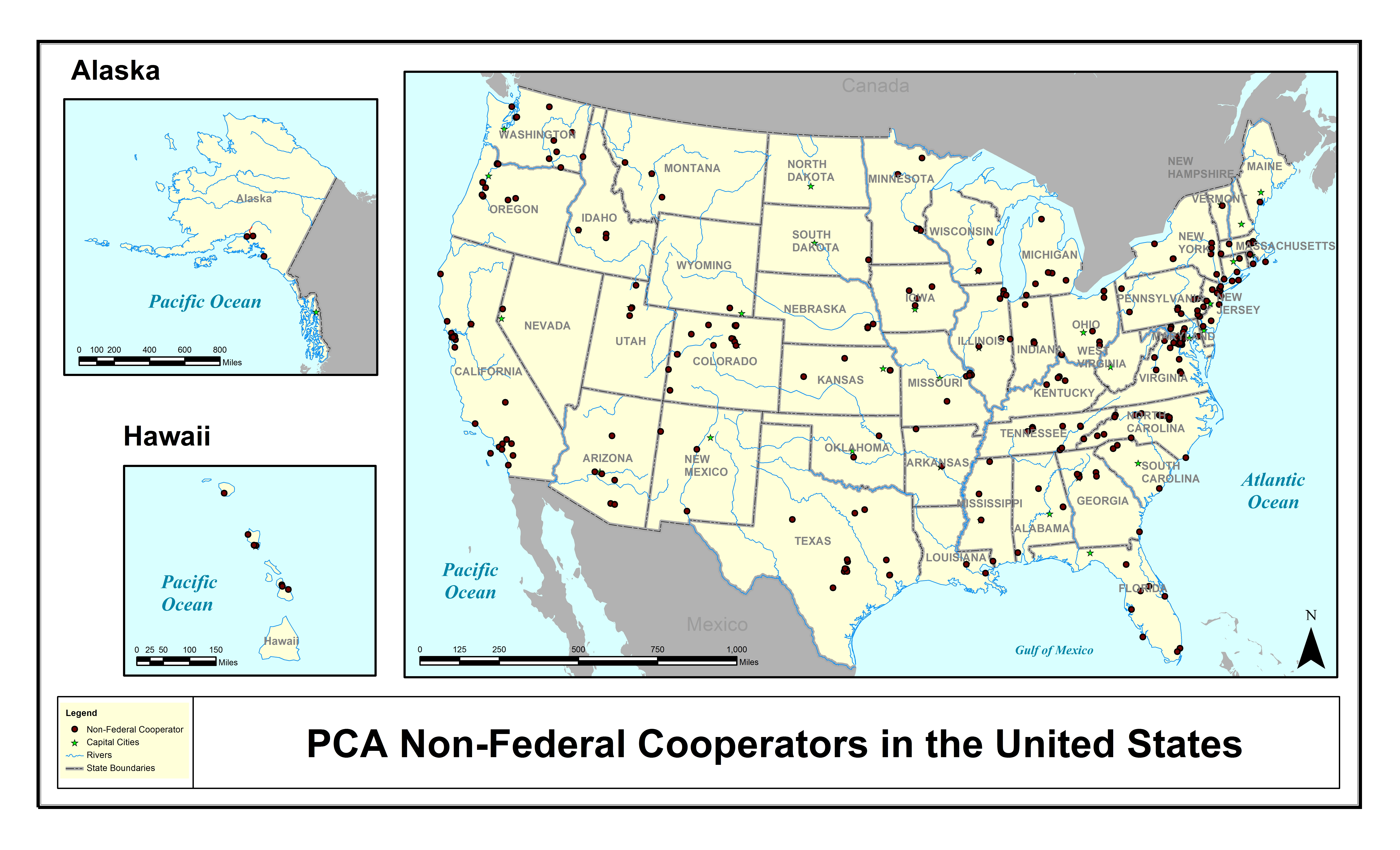 map of the united states with pca 356 non federal cooperators as points on the