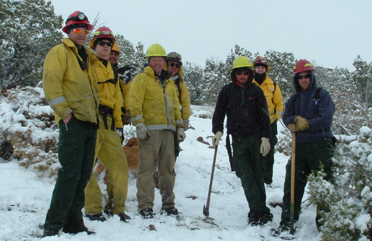A team of firefighters work on creating defensible space in the wildland  urban interface. Credit: BLM Idaho