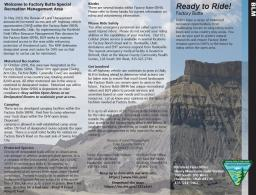 This is an image of the factory butte recreation brochure that provides recreation and safety tips.