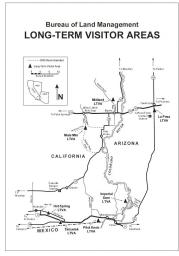 a map shows the location of long-term visitor areas in california and Arizona on both sides of the Colorado River