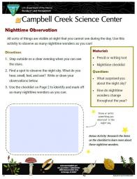 Nighttime Observation Activity sheet