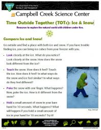 TOTs Ice and Snow Nature Learning Activity sheet