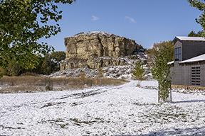 Pompeys Pillar National Monument in the snow