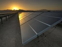 Solar panels in the desert. Photo by Tom Brewster Photography.