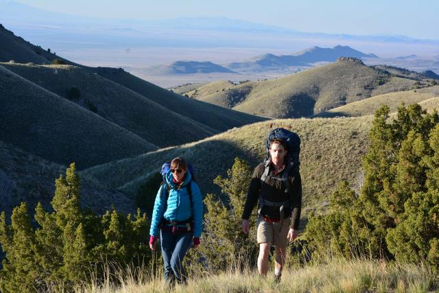 Two people with backpacks hiking along a grassy area with trees and a green high elevation landscape behind them.