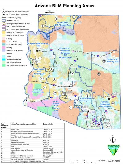 a map shows BLM planning areas in Arizona. If you have questions about this map, you can contact the Arizona State Office at 602-417-9200.