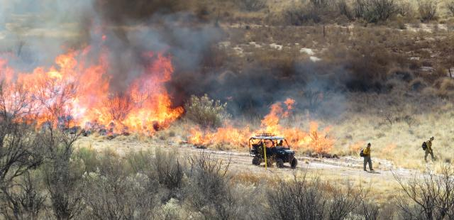 a fire burns through vegetation as firefighters look on