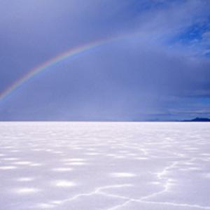 Rainbow over the Bonneville Salt Flats