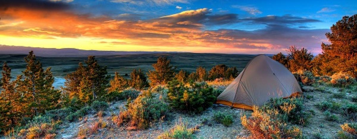 Camping at sunset at Oregon Buttes, Wyoming, photo by Sam Cox