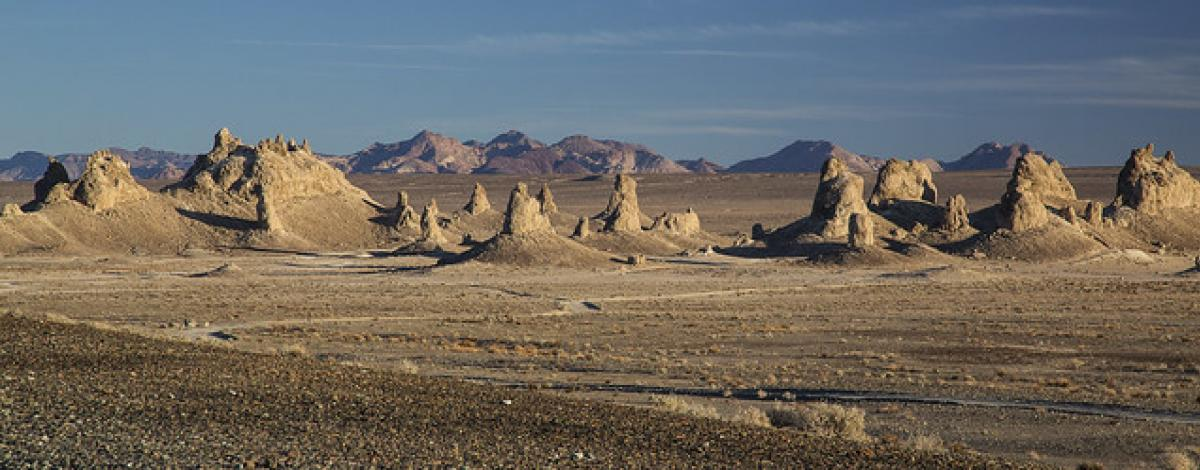 Trona Pinnacles rise from the desert floor in the morning light. (Bob Wick/BLM)