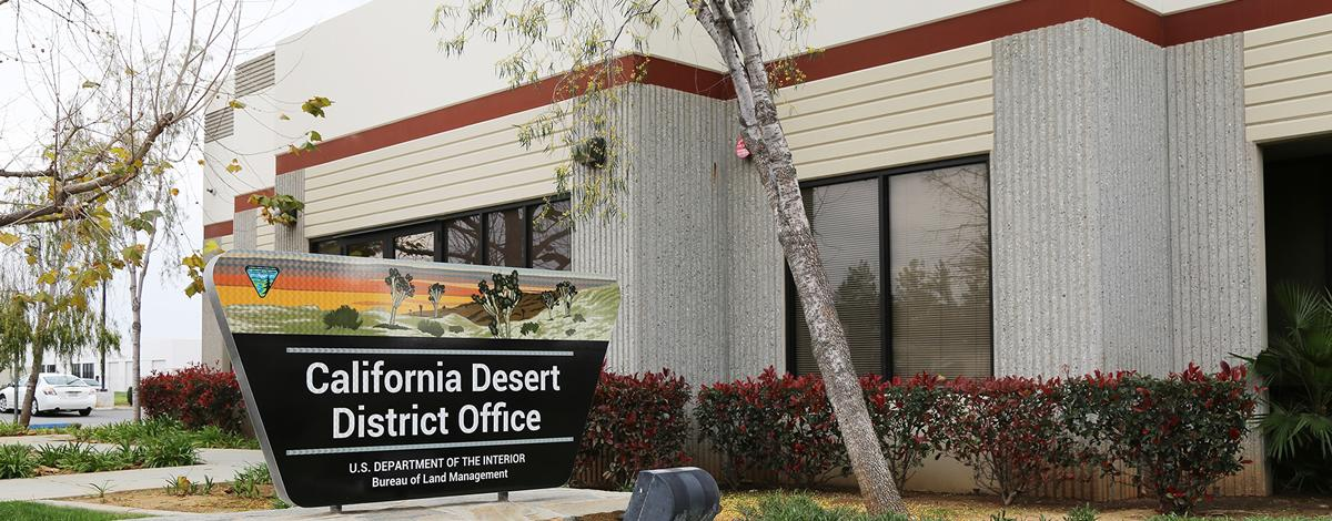 Office building and sign for the California Desert District.  Photo by BLM