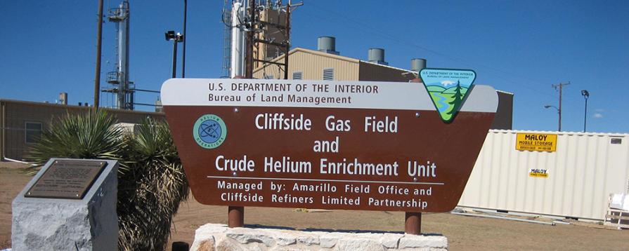 Cliffside Gas Field and Crude Helium Enrichment Unit Sign