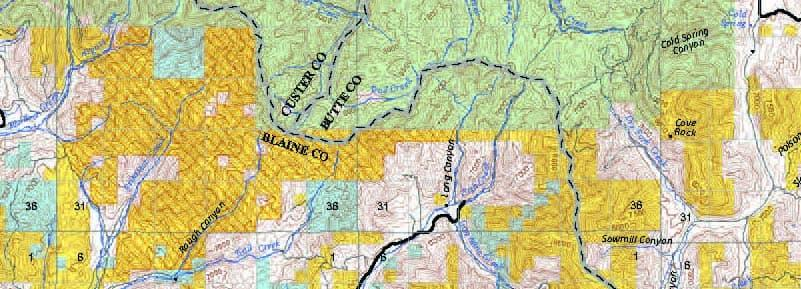 A section of topographical map
