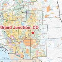 A zoomed in thumbnail of a map of the Western United States with a large red star indicating Grand Junction, CO