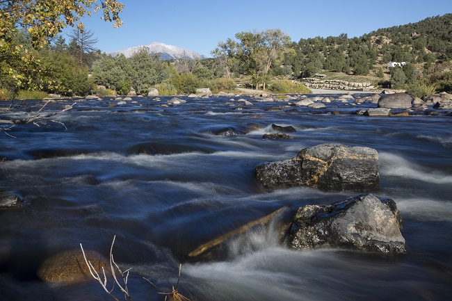 Water flowing over rocks within Browns Canyon National Monument in Colorado.