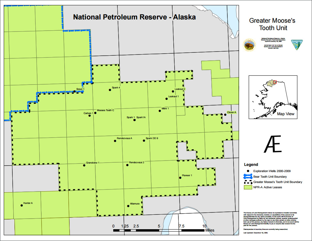 Map of Greater Moose's Tooth Unit in the northeast National Petroleum Reserve in Alaska