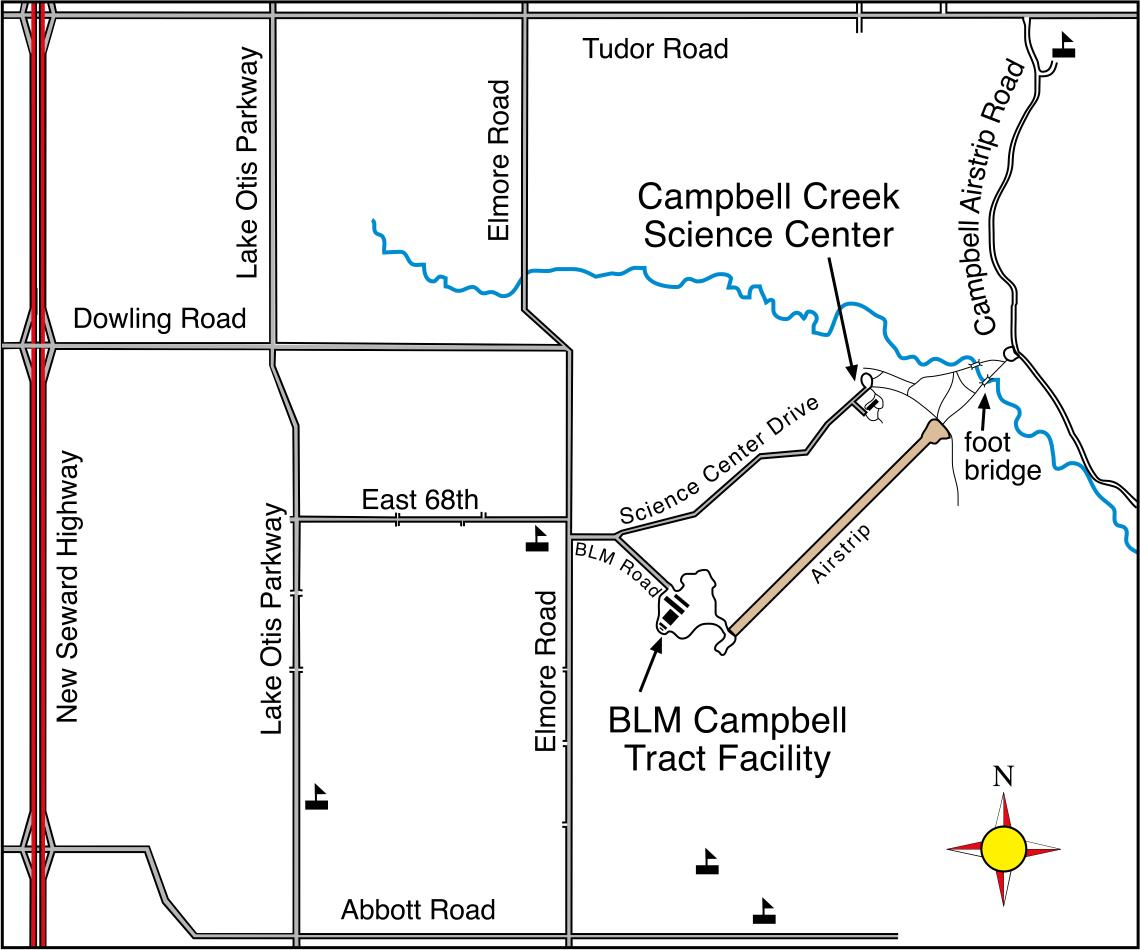 Map of the location of the Campbell Creek Science Center