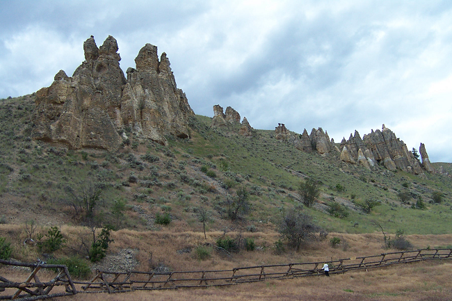 A view of a rock outcropping along the Lewis and Clark National Historic Trail.