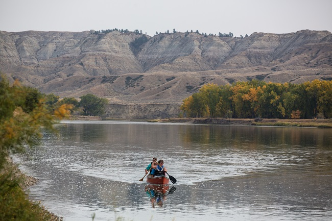 Boaters within Missouri Breaks National Monument in Montana.