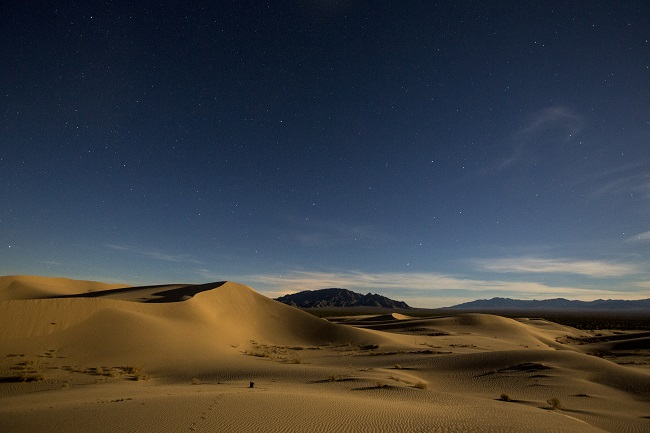 At dusk, stars begin to appear in the sky above sand dunes in the Cadiz Dunes Wilderness. Photo by Bob Wick.